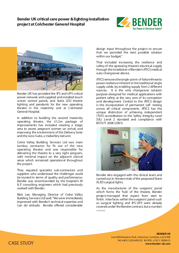 [Translate to english:] Bender UK critical care power & lighting installation project at Colchester General Hospital
