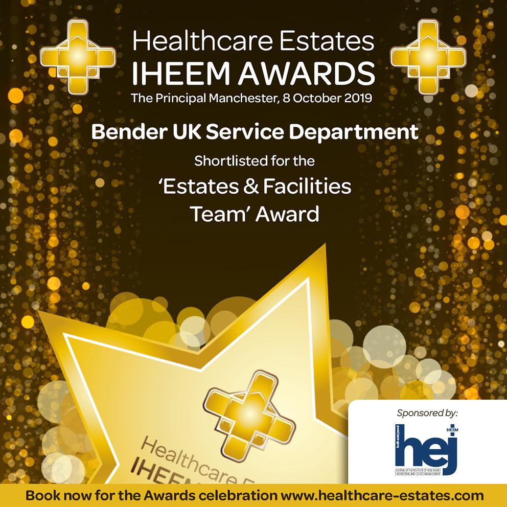 Bender UK shortlisted for IHEEM Estates & Facilities team award